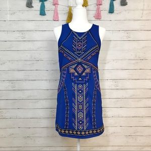 Flying Tomato Blue Tribal Print Shift Dress Small